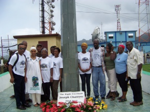 Members of the visiting delegation at the Chatoyer obelisk overlooking Kingstown.