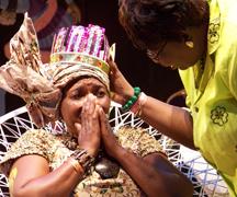 "Natioanl Calypso Monarch 2009 Bridgette ""Joy C"" Creese (L) And Minister Of Tourism Rene Baptiste"