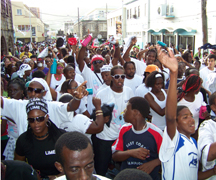 A section of the street party as it snaked its way through Kingstown.
