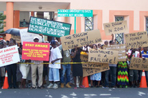 Protesters demonstrated during Gonsalves' address.