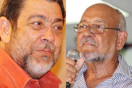 Prime Minister Dr. Ralph Gonsalves, left, and former prime minister, Sir James Mitchell (File montage)