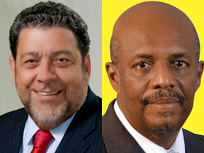Prime Minister Dr. Ralph Gonsalves, left, and Opposition Leader Arnhim Eustace (File montage).