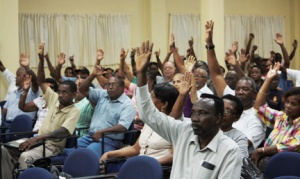 A meeting of shareholders of the Building and Loan Association in Kingstown on Thursday, Feb. 21, 2013, unanimously passed a resolution mandating talks with the Financial Services Authority.  (Photo: I-Witness News)
