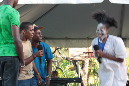 Members Of The Petit Bordel Police Youth Club Perform A Skit About The Devastating Effects Of Drug Abuse At The Launch Of The Layou And Barrouallie Police Youth Clubs In Layou On Sunday, Feb. 17, 2012. (I-Witness News Photo)