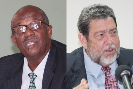 Opposition Leader Arnhim Eustace, left, and Prime Minister Dr. Ralph Gonsalves (File montage).