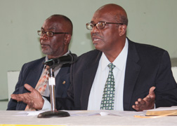 Ndp President And Leader Of The Opposition, Arnhim Eustace, Right, And Central Kingstown Representative, St. Clair Leacock, An Ndp Vice President, Met With The Fsa On Thursday. They Are Pictured Here At A Press Conference In Kingstown On Monday, Feb. 11.