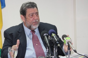 Prime Minister Dr. Ralph Gonsalves addresses a press conference where he disclosed information from a confidential report on the Building & Loan Association in Kingstown on Tuesday, Feb. 12.
