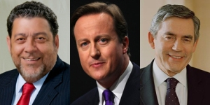 From Left: Prime Minister Dr. Ralph Gonsalves Of St. Vincent And The Grenadines, British Pm David Cameron And Former British Pm Gordon Brown.