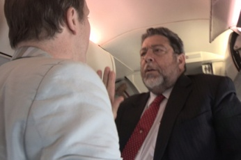 In This Photo, Emailed To I-Witness News On Wednesday, Prime Minister Dr. Ralph Gonsalves Reacts To A Bbc Journalist On Board The Airplane In Barbados On Sunday, Feb. 17, 2013.