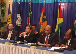 CARICOM Secretary General Irwin LaRocque, Prime Minister Ralph Gonsalves, President of Haiti, Michel Martelly, and Prime Minister St. Kitts and Nevis, Denzil Douglas address the media at the close of the 24th Intersessional Meeting of the Heads of State and Government of CARICOM, held in Pétion-ville, Haiti. (Photo: SVG UN Mission)