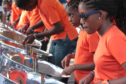 The Symphonix Steel Orchestra out of Questelles performs at the launch of the Layou and Barrouallie Police Youth Clubs in Layou on Sunday, Feb. 17, 2012. The steel orchestra was formed under the government's Pan Against Prime initiative. (I-Witness News photo)