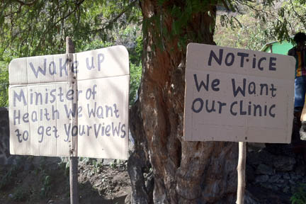 Residents Of Buccament Bay Used Placards Two Weeks Ago To Express Displeasure About The Situation There.