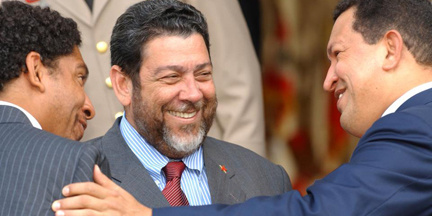 In this undated photo, Venezuela's Hugo Chavez, right, is seen with Vincentian Prime Minister, Dr. Ralph Gonsalves, centre, and Gonsalves' son, Camillo, SVG's envoy to the United Nations. Chavez died on Tuesday, March 5, 2013. (Photo: SVG U.N. Mission)