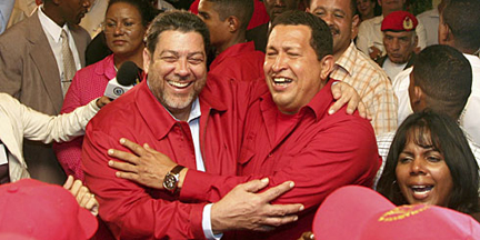 In This Undated Internet Photo, Prime Minister Dr. Ralph Gonsalves, Left, Is Seen With Former Venezuela President Hugo Chavez, Who Died On Tuesday At Age 58.