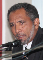 Opposition MP, Dr. Godwin Friday speaks in Parliament on Monday, March 11, 2012. (IWN photo)