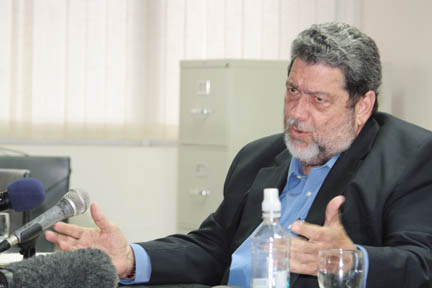"Prime Minister Dr. Ralph Gonsalves (shown) told journalist Ashford Peters that he and The News newspaper must ""stop the lies""."