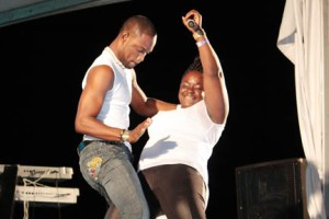 Shanda of Carriacou dances with a Union Island man at Soca Fest on Saturday