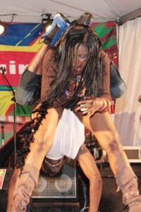 A scene from First Lady's provocative performance at Soca Fest on Saturday.