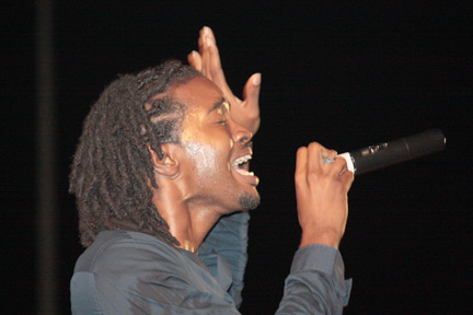 Trinidadian artiste, Positive, performs at the launch of Gospel Fest on Sunday.