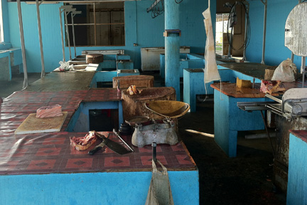 A view of the temporary meat market in Kingstown.