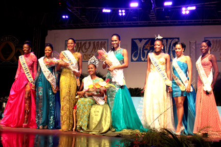 Miss SVG 2013 contestants in evening wear.